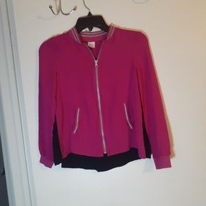 Lightweight pink,silver and black zip up jacket